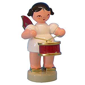 Weihnachtsengel Engel - rote Flügel - klein Engel mit Trommel - Rote Flügel - stehend - 6 cm