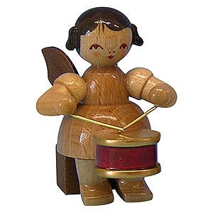 Weihnachtsengel Engel - natur - klein Engel mit Trommel - natur - sitzend - 5 cm