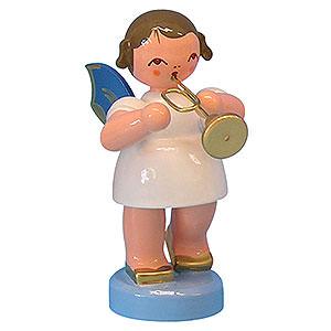 Weihnachtsengel Engel - blaue Flügel - klein Engel mit Trompete - Blaue Flügel - stehend - 6 cm