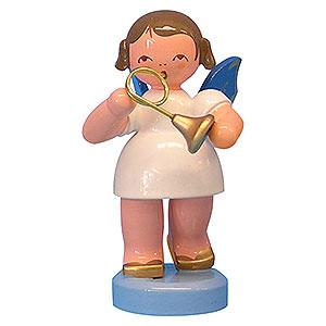 Weihnachtsengel Engel - blaue Flügel - klein Engel mit Waldhorn - Blaue Flügel - stehend - 6 cm