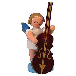 Weihnachtsengel Engel - blaue Flügel - klein Engel mit Zupfbass - Blaue Flügel - stehend - 6 cm