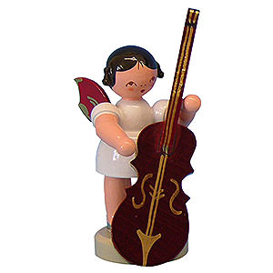 Weihnachtsengel Engel - rote Flügel - klein Engel mit Zupfbass - Rote Flügel - stehend - 6 cm