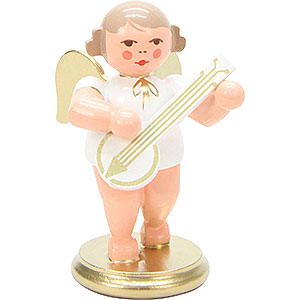 Weihnachtsengel Orchester weiß & gold (Ulbricht) Engel weiß/gold mit Banjo - 6 cm