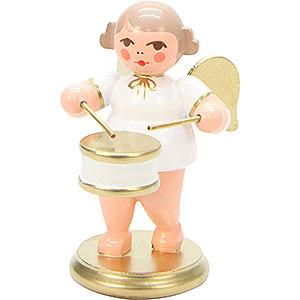 Weihnachtsengel Orchester weiß & gold (Ulbricht) Engel weiß/gold mit Flachtrommel - 6,0 cm