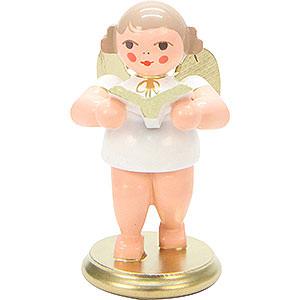 Weihnachtsengel Orchester weiß & gold (Ulbricht) Engel weiß/gold mit Gesangbuch - 6,0 cm