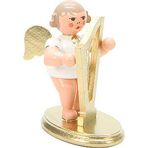 Weihnachtsengel Orchester weiß & gold (Ulbricht) Engel weiß/gold mit Harfe - 6,0 cm