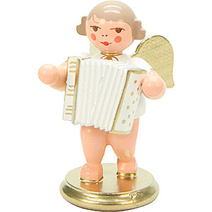 Weihnachtsengel Orchester weiß & gold (Ulbricht) Engel weiß/gold mit Ziehharmonika - 6,0 cm