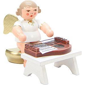 Weihnachtsengel Orchester weiß & gold (Ulbricht) Engel weiß/gold mit Zither - 6,0 cm