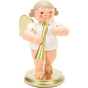 Weihnachtsengel Orchester weiß & gold (Ulbricht) Engel weiß/gold mit russischem Horn - 6 cm