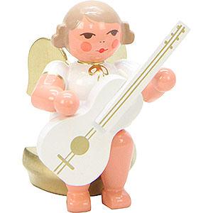 Weihnachtsengel Orchester weiß & gold (Ulbricht) Engel weiß/gold sitzend mit Gitarre - 5,5 cm