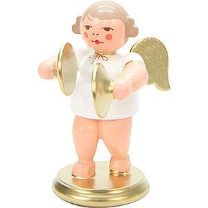 Weihnachtsengel Orchester weiß & gold (Ulbricht) Engel weiß/gold mit Becken - 6,0 cm