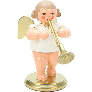 Weihnachtsengel Orchester weiß & gold (Ulbricht) Engel weiß/gold mit Flügelhorn - 6,0 cm