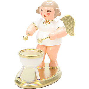 Weihnachtsengel Orchester weiß & gold (Ulbricht) Engel weiß/gold mit Kesselpauke - 6,0 cm