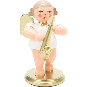 Weihnachtsengel Orchester weiß & gold (Ulbricht) Engel weiß/gold mit Saxophon - 6,0 cm