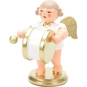 Weihnachtsengel Orchester weiß & gold (Ulbricht) Engel weiß/gold mit gr. Trommel - 6,0 cm