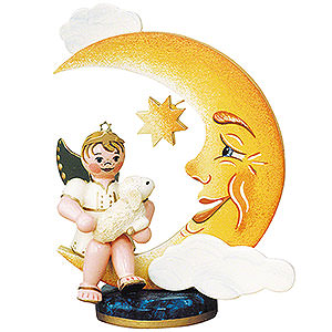 Weihnachtsengel Engel - weiß (Hubrig) Engelbub-Mond mit Schäfchen - 10 cm