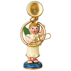Weihnachtsengel Orchester (Hubrig) Engelbub mit Sousaphon - 6,5 cm