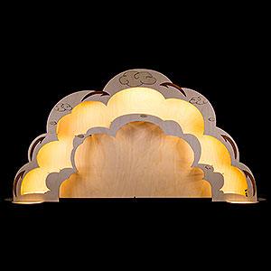 Schwibbögen Laubsägearbeiten Engelhaus Erweiterung mit LED-Beleuchtung - 90x45 cm
