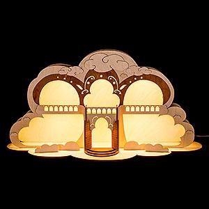 Schwibbögen Laubsägearbeiten Engelhaus mit LED Beleuchtung - 55x27 cm