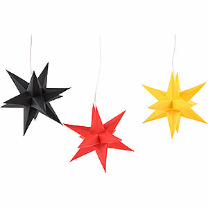 Advent Stars and Moravian Christmas Stars Erzgebirge-Palace Stars Erzgebirge-Palace Moravian Star Set of Three Black-Red-Gold Germany Set incl. Lighting - 17 cm / 6.7 inch