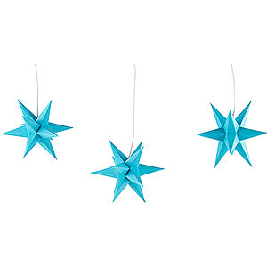 Advent Stars and Moravian Christmas Stars Erzgebirge-Palace Stars Erzgebirge-Palace Moravian Star Set of Three Blue incl. Lighting - 17 cm / 6.7 inch