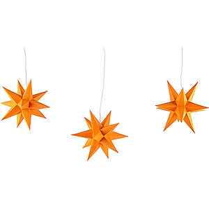 Advent Stars and Moravian Christmas Stars Erzgebirge-Palace Stars Erzgebirge-Palace Moravian Star Set of Three Orange incl. Lighting - 17 cm / 6.7 inch