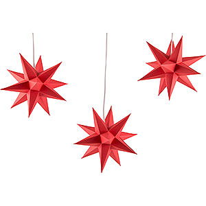 Advent Stars and Moravian Christmas Stars Erzgebirge-Palace Stars Erzgebirge-Palace Moravian Star Set of Three Red incl. Lighting - 17 cm / 6.7 inch