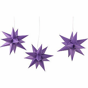 Advent Stars and Moravian Christmas Stars Erzgebirge-Palace Stars Erzgebirge-Palace Moravian Star Set of Three, Violet - 17 cm / 6.7 inch