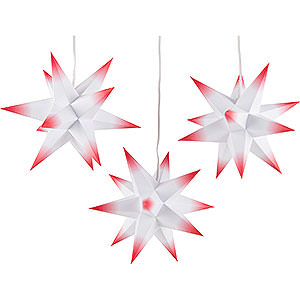 Advent Stars and Moravian Christmas Stars Erzgebirge-Palace Stars Erzgebirge-Palace Moravian Star Set of Three - White-Red - incl. Lighting - 17 cm / 6.7 inch