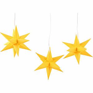 Advent Stars and Moravian Christmas Stars Erzgebirge-Palace Stars Erzgebirge-Palace Moravian Star Set of Three Yellow incl. Lighting - 17 cm / 6.7 inch