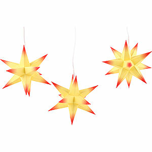 Adventssterne und Weihnachtssterne Erzgebirge-Palast Sterne Erzgebirge-Palast Adventsstern 3er-Set gelber Kern mit roten Spitzen inkl. Beleuchtung - 17 cm