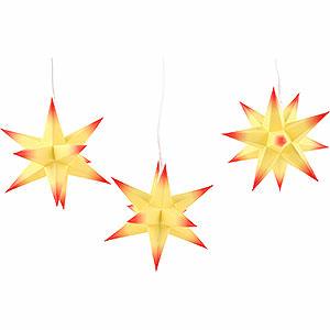 Adventssterne und Weihnachtssterne Erzgebirge-Palast Sterne Erzgebirge-Palast Adventsstern 3er-Set gelber Kern, rote Spitzen - 17 cm