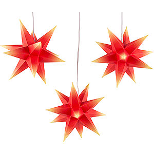 Advent Stars and Moravian Christmas Stars Erzgebirge-Palace Stars Erzgebirge-Palce Moravian Star Set of Three - Red-Yellow - incl. Lighting - 17 cm / 6.7 inch