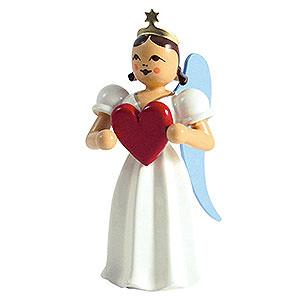 Weihnachtsengel Faltenlangrockengel farbig (Blank) Faltenlangrockengel Herz, farbig - 6,6 cm