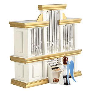 Weihnachtsengel Faltenlangrockengel farbig (Blank) Faltenlangrockengel an der Orgel mit Spielwerk, farbig - 15,5 cm