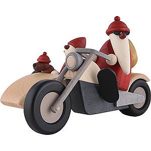 Kleine Figuren & Miniaturen Björn Köhler Weihnachtsmänner kl. Familienausfahrt auf Motorrad - 11 cm