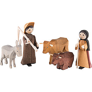Small Figures & Ornaments ULMIK Nativity stained Farmers, Set of Five, Stained - 7 cm / 2.8 inch