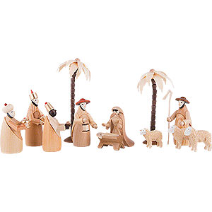 Weihnachtspyramiden Zubehör & Kerzen Figurengruppe für 2-stöckige Pyramiden - KRIPPE (natur) - 12 - teilig