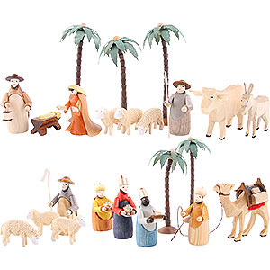 Christmas-Pyramids Accessories & Candles Figurines for 3-Tier Pyramid - NATIVITY (coloured) - 23 pcs.