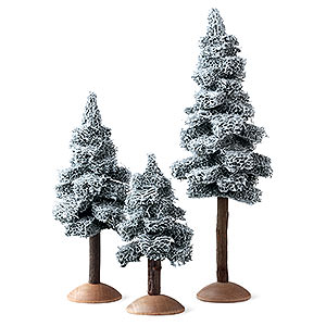 Angels Reichel decoration Fir Tree with Snow and Trunk, Set of Three - 17 cm / 6.7 inch