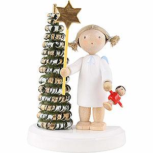 Weihnachtsengel Flade Flachshaarengel Flachshaarengel am Weihnachtsbaum mit Stern und Puppe - 5 cm