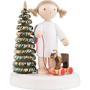 Weihnachtsengel Flade Flachshaarengel Flachshaarengel an Weihnachtsbaum mit Pferdchen - 5 cm