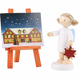 Bestseller Flachshaarengel mit Adventsstern und -kalender - 5 cm