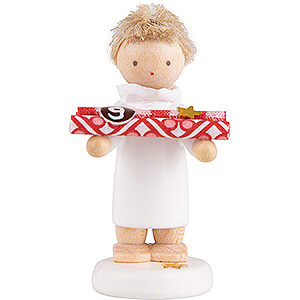Weihnachtsengel Flade Flachshaarengel Flachshaarengel mit Geschenkpapier (9) - 5 cm