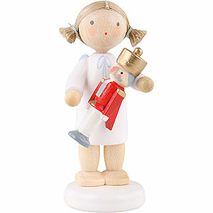 Weihnachtsengel Flade Flachshaarengel Flachshaarengel mit Nussknacker - 5 cm