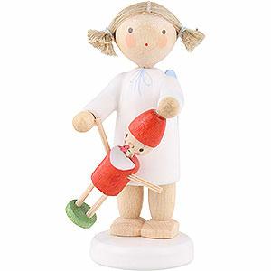 Weihnachtsengel Flade Flachshaarengel Flachshaarengel mit Pinocchio - 5 cm
