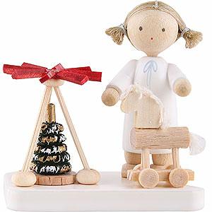 Weihnachtsengel Flade Flachshaarengel Flachshaarengel mit Pyramide und Thüringer Pferd - 5 cm