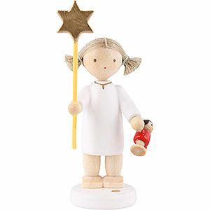 Weihnachtsengel Flade Flachshaarengel Flachshaarengel mit Stern und Puppe 2015 - 5 cm