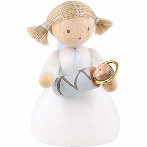 Weihnachtsengel Flade Flachshaarengel Flachshaarengel sitzend mit Jesuskind - 5 cm