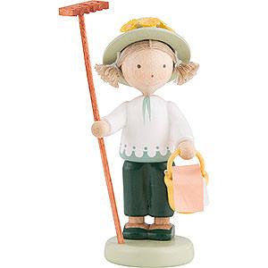 Kleine Figuren & Miniaturen Flade Flachshaarkinder Flachshaarkinder Gärtnerin mit Rechen und Proviantkorb - 5 cm